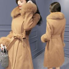 Womens Parka Fur Collar Woolen Coat Long Jacket Winter Warm Belt Slim Outwear