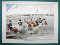LADIES BEACH Sea SHore at Norderney Germany - COLOR VICTORIAN Era Print