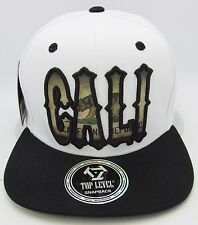 CALIFORNIA REPUBLIC Snapback Cap Hat CALI Bear Flag White Black Flat Bill  NWT