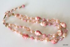 Vintage Czech Pink Milk Glass Faux Pearl Multi Stand Necklace