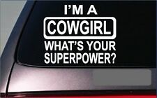 "Cowgirl superpower *G380* 8"" sticker Decal horse cattle rodeo boots stirrups"