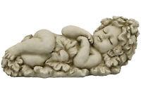 Engel Skulptur creme grau Zement Haus Garten Shabby Nostalgie Brocante Deko