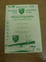 20/01/1993 Norwich City Reserves v Crystal Palace Reserves  (Four Pages, Light F