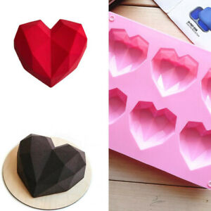 Diamond Heart Love Cake Jelly Mousse Mold Chocolate Baking Mould Tray Ice Cube