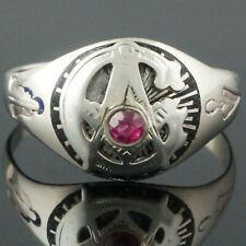 Solid 14K White Gold, Ruby & Black Enamel Masonic, Estate Free Mason Ring