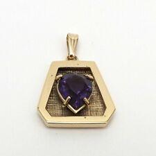 14k Gold Amethyst Heart February Birthstone Charm Pendant
