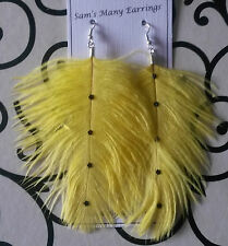 Ostrich Feather Fashion Earrings  925 Silver Hooks Available Hand Made