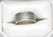 925 Sterling Silver Spinning Circles Wide Band Ring