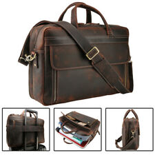 "Men Leather Briefcase 17"" Laptop Travel Shoulder Messenger Bag Luggage Satchel"