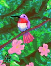 Little Hummer By Hagseth. Hummingbird, Digital Painting.  Signed Prints