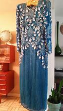 VINTAGE Niteline Blue Silk Sequin Beaded Long Sleeve Gown SZ 14 Peacock Design