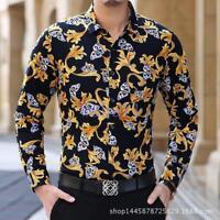 Men's Long Sleeve Pleuche Slim Dress Floral Ptint Suit Leopard Casual Shirts New