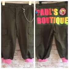 PAULS BOUTIQUE Cropped Trousers Ribbed Cuffs Khaki Pink Break Dance 30in Waist