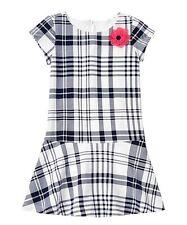 NWT Gymboree PRETTY POPPY Navy Plaid Drop Waist Short Sleeve Knit Dress 4 4T 5 7