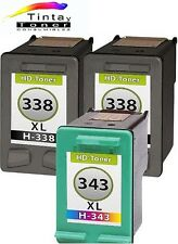 3 cartuchos Tinta para HP 338+343 XL psc 1500 serie 1510 1600 1610 2355 2610