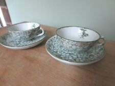 19th Century Green and White Porcelain Miniature Tea Cup and Saucer Child Set
