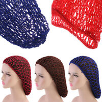 Women Mesh Hair Net Crochet Cap Solid Color Sleeping Night Cover Turban Headwear