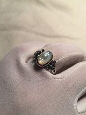 Vintage Celtic Genuine Mother Of Pearl Filigree 925 Sterling Silver Size 7 Ring