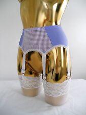 XSml Lilac Lycra + Mesh 6 Strap Designer Styled Suspender Belt 24-26 Inch Waist