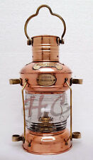 "Brass & Copper Anchor Oil Lamp Leeds Burton Nautical Maritime 14"" Ship Lantern"