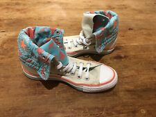 Converse All Star Cream and Blue Floral Fold Down High Top Trainers UK 4.5 Chuck