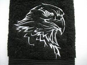 EAGLE DESIGN EMBROIDERED, BLACK HAND TOWEL
