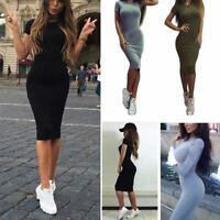 Popular Women Cocktail Mini Dress Lady Short Sleeve Bodycon Casual Party Evening