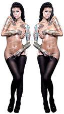 2X Sexy tatuado PIN UP GIRL PEGATINA DE VINILO COCHE DECAL UK Post sólo