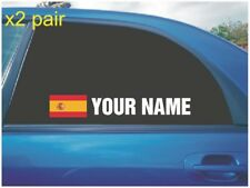YOUR NAME RALLY RACE CAR WINDOW STICKER DECAL SPAIN SPANISH FLAG IN WHITE X2