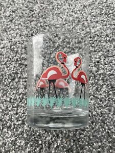 Pink Flamingo Clear Glass Round Pot - Jar - Bathroom Holder Tumbler Cup - TIGER