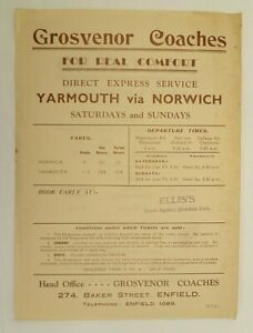 GROSVENOR COACHES ( ENFIELD ) u/d c1930s ~  YARMOUTH EXPRESS TIMETABLE SHEET