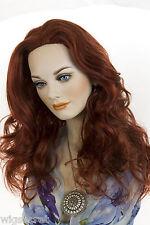 Long  Glamorous Layered Blonde Brunette Red Wavy Skin Part Wigs Soft Bangs