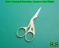 "Stork Sewing Embroidery Scissor 3.5/"" Gold Plated New"