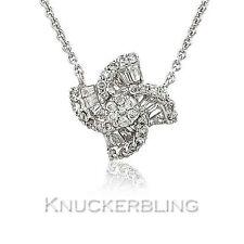 0.40ct Genuine Diamond Cluster Pendant Necklace F VS 18ct White Gold Star Flower