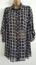 NEW SAMYA Plus Size16-32 Monochrome Checked Black White Chiffon Blouse Shirt Top