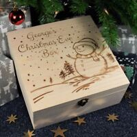 Personalised Christmas Eve Box for Children Engraved Wooden Box, Snowman Scene