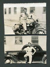 Vintage Photos Man w/ 1936 Ford Car & Motorcycle Gay Interest 424194