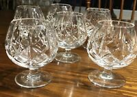 "Set of 6 Crystal Cross Cut and Olive Brandy Scotch Whiskey Glasses 3.25"" MCM WOW"