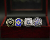 MLB Detroit Tigers Championship Rings 4pcs Display Set with Wooden Box