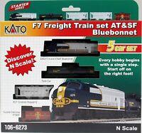 Kato 1066273 N Scale F7 Freight Train Set AT&SF, Bluebonnet. 5 car set. New.