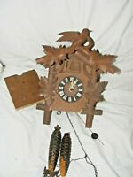 VINTAGE BLACK FOREST CUCKOO CLOCK FOR RESTORATION WITH WEIGHTS