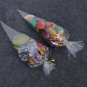 100x Clear Cone Shape Cello Popcorn Sweet Bags Wedding Party Gift Bags 38*19cm