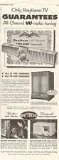 1942 vintage Televison Ad RAYTHEON TV CHannel Tuner 100216