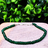25.00 Cts Natural 7 Inches Long Green Onyx Round Cut Beads Bracelet NK-44E182