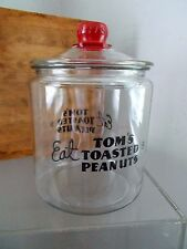 Antique Vtg TOM'S Advertising Roasted Peanut 50s Glass JAR Store Counter Display