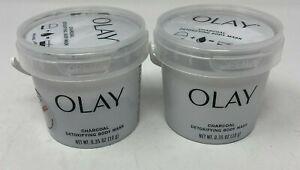2 Olay Charcoal Detoxifying Body Mask Scrub for Women 0.35 oz Add Water New