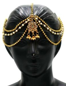 Indian Gold Plated Kundan Pearl Matha patti Forehead Piece Indian Bridal Jewelry