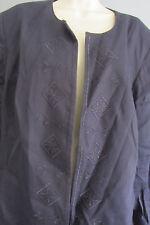 20W JONES NEW YORK WOMAN Jacket Navy Blue Dressy Linen Blend Stretch Lined Plus