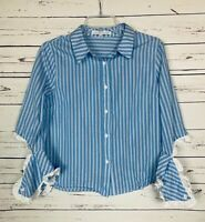 English Factory Women's M Medium White Blue Striped Ruffle Summer Top Blouse