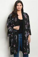 Women's Plus Size Top Black Floral Kimono Wrap Blouse Layer Fall Casual Chic